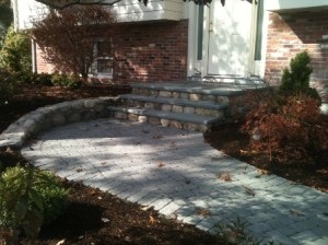 Medfield steps, wall and walkway